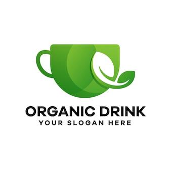 Logo-ontwerp met biologische drankverloop