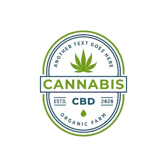 Logo-ontwerp met cannabisolie of cbd-badge