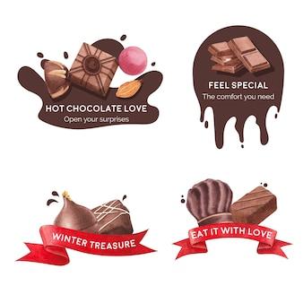 Logo ontwerp met chocolade winter concept voor branding en marketing aquarel vectorillustratie