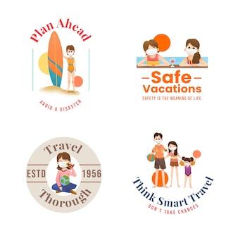 Logo-ontwerp met covid-19-preventieconcept voor branding en marketing.