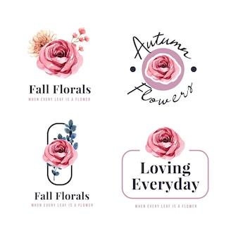 Logo ontwerp met herfst bloem concept voor merk en marketing aquarel illustratie.