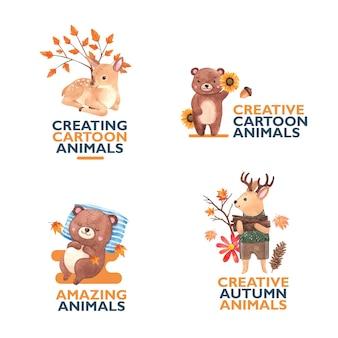 Logo-ontwerp met herfstdier in aquarelstijl