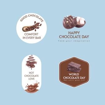 Logo-ontwerp met het concept van de wereldchocoladedag