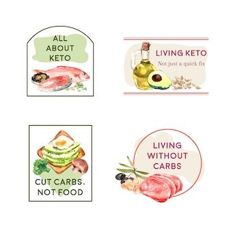 Logo ontwerp met ketogeen dieet concept voor branding en marketing aquarel illustratie.