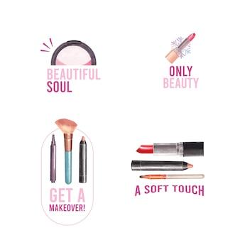 Logo ontwerp met make-up concept voor branding en marketing aquarel.