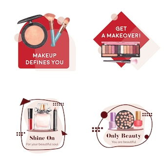 Logo ontwerp met make-up concept voor branding en marketing aquarel.