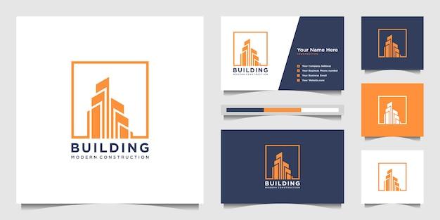 Logo ontwerp met modern concept bouwen. stad bouwconstructie abstract voor logo ontwerp inspiratie. logo ontwerp en visitekaartje