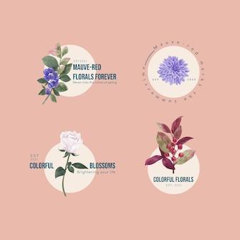 Logo-ontwerp met muave rood bloemenconcept, aquarelstijl