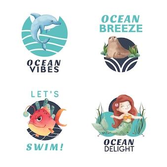 Logo ontwerp met oceaan blij concept aquarel stijl