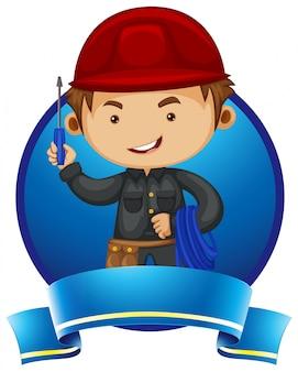 Logo ontwerp met reparateur en hulpmiddelen