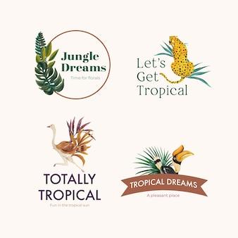 Logo-ontwerp met tropisch eigentijds concept voor branding en marketing aquarel illustratie