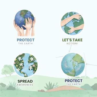 Logo ontwerp met wereldmilieudag concept, aquarel stijl