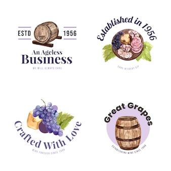 Logo ontwerp met wijnboerderij concept voor branding en marketing aquarel illustratie.
