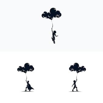 Logo-ontwerp met wolkballonnen voor kinderen
