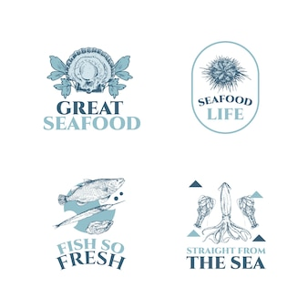 Logo-ontwerp met zeevruchtenconcept voor branding en marketingillustratie