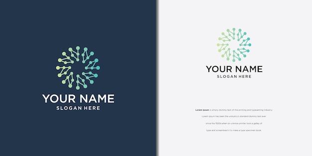 Logo-ontwerp rond logo-concept, verbonden stippen creatief logo voor technologie