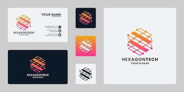 Logo ontwerp technologie idee, inspiratie, zeshoek concept met kleurverloop