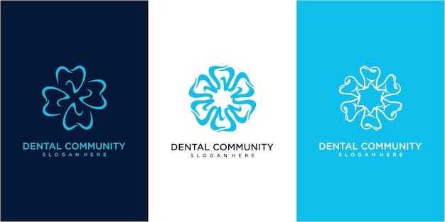 Logo ontwerp van de tandheelkundige gemeenschap. set van tandheelkundige logo-ontwerpinspiratie