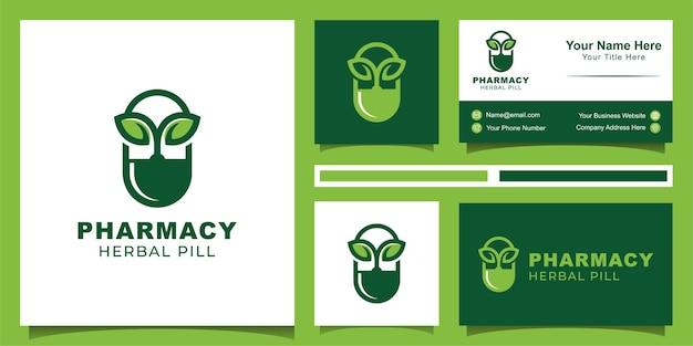 Logo ontwerp van kruiden capsule pil blad geneeskunde drug ontwerp en visitekaartje
