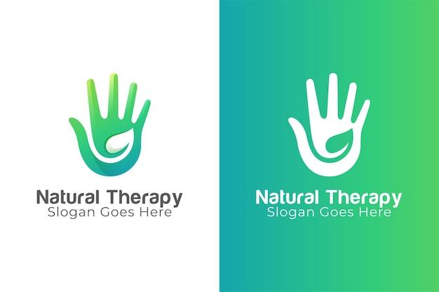 Logo-ontwerp van natuurlijke therapie combineert hand en blad