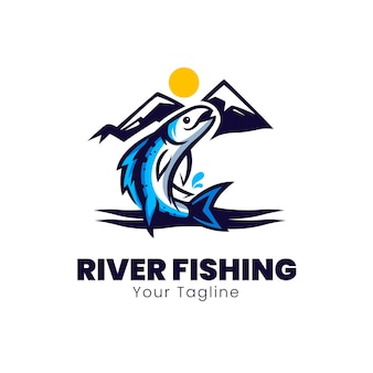 Logo-ontwerp van riviervissersclub