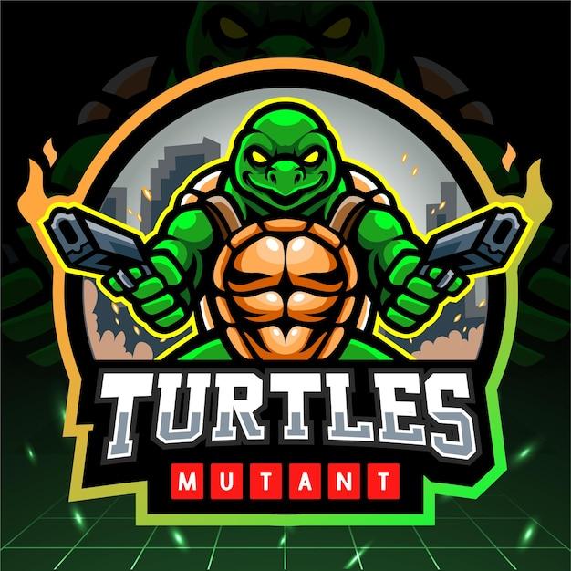 Logo-ontwerp van schildpadmutant esport