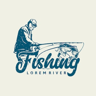 Logo ontwerp vissen rivier met visser vintage illustratie