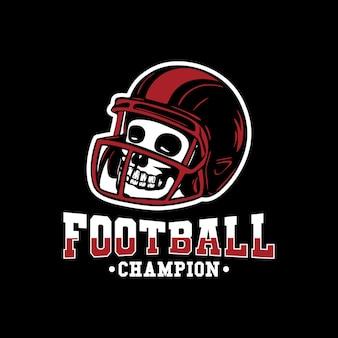 Logo ontwerp voetbalkampioen met voetbal vintage illustratie