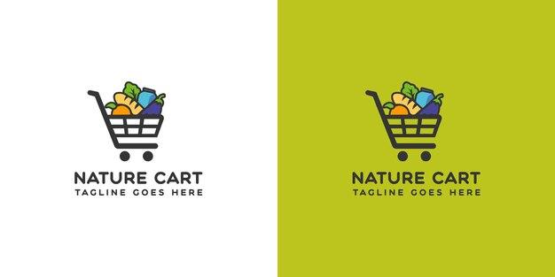 Logo-ontwerp voor biologisch voedsel cart