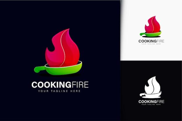 Logo-ontwerp voor kookvuur met verloop