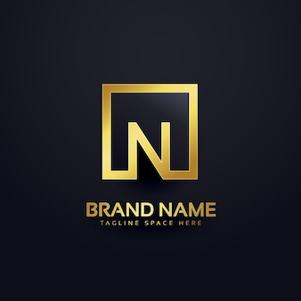 Logo ontwerp voor letter n in gouden