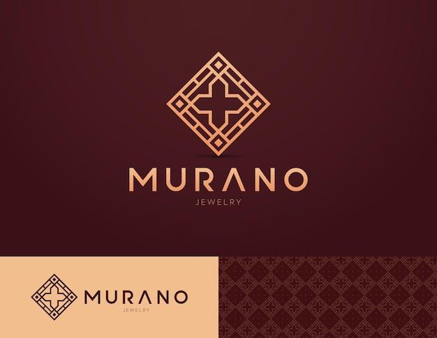 Logo-ontwerp voor religieuze sieraden met een kruis en mozaïeken