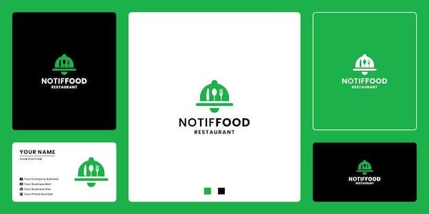Logo-ontwerp voor voedselmeldingspictogram voor restaurant en gezond