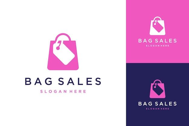 Logo-ontwerp winkelen of boodschappentassen met prijskaartjes
