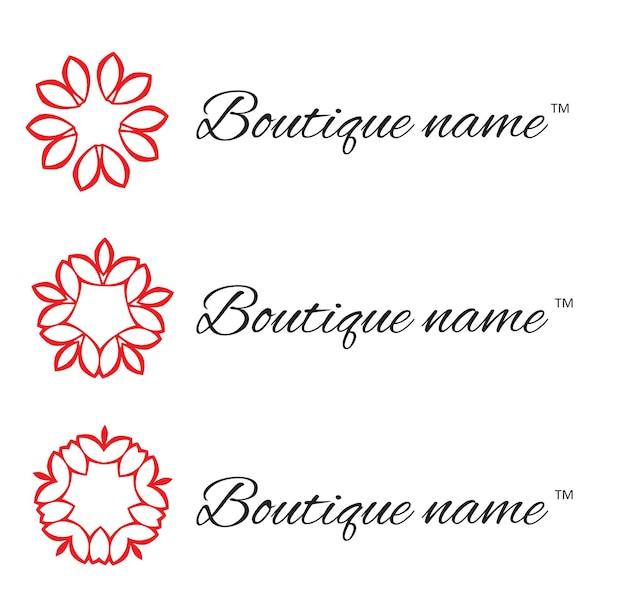 Logo ontwerpelement met sjabloon voor visitekaartjes. floral monogram ontwerpsjabloon voor bedrijf. vector illustratie.