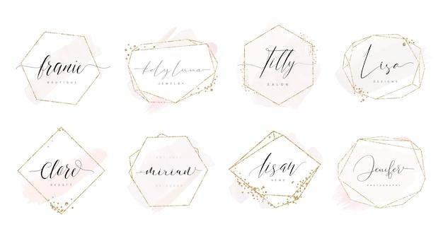 Logo-ontwerpen in vrouwelijke kalligrafische stijl met geometrisch frame en gouden confetti