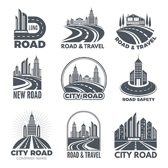 Logo-ontwerpen met illustraties van wegen en gebouwen