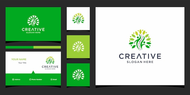 Logo-ontwerpen voor fysiotherapie met sjabloon voor visitekaartjes