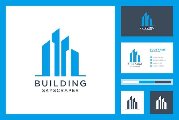 Logo-ontwerpinspiratie bouwen met visitekaartje. wolkenkrabber.