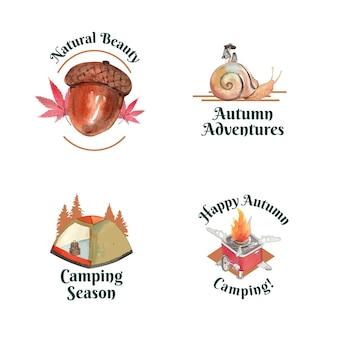 Logo-ontwerpset met herfstkampeerconcept, aquarelstijl
