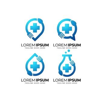Logo ontwerpset voor gezonde voeding