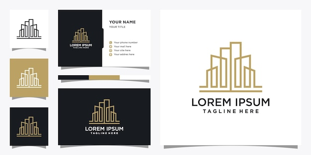 Logo ontwerpsjabloon bouwen met visitekaartje.