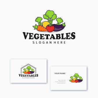 Logo ontwerpsjabloon plantaardige pictogrammen met visitekaartje