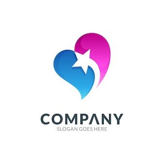 Logo ontwerpsjabloon van hart of liefde combinatie met vallende ster