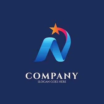 Logo ontwerpsjabloon van letter n combinatie met vallende ster