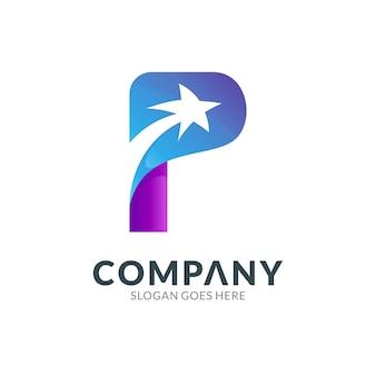 Logo ontwerpsjabloon van letter p combinatie met vallende ster