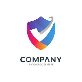 Logo-ontwerpsjabloon van schildcombinatie met vinkje