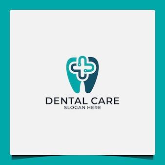 Logo ontwerpsjabloon voor tandheelkundige zorg voor gezondheidsbedrijven of tandheelkundige zorggemeenschappen Premium Vector