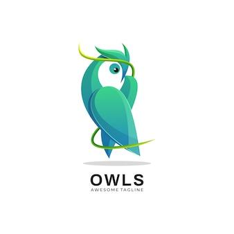 Logo owl gradient kleurrijke stijl.