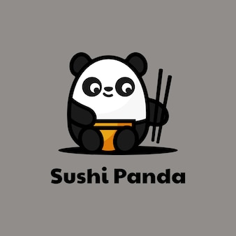 Logo panda eenvoudige mascotte stijl.